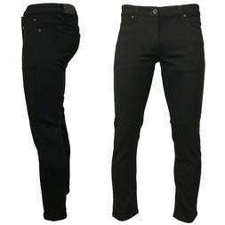 KAYDEN.K JET BLACK Men's Skinny Fit Stretch Twill Denim Jean