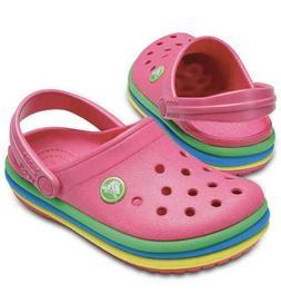 Crocs Kids Crocband™ Rainbow Band Clogs - Pink - SIZE C5