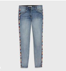 Knox Rose Embroidered Blue Jeans Size 8 Elastic Waistband NW