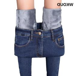 WKOUD Korean <font><b>Jeans</b></font> Women Plus Size Winte