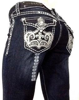 L.A Idol Jeans Size Bootcut Embellished Bling Rhinestone Fla
