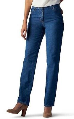 LEE 100% COTTON DENIM JEANS Petite 6 Relaxed-Fit Straight-Le