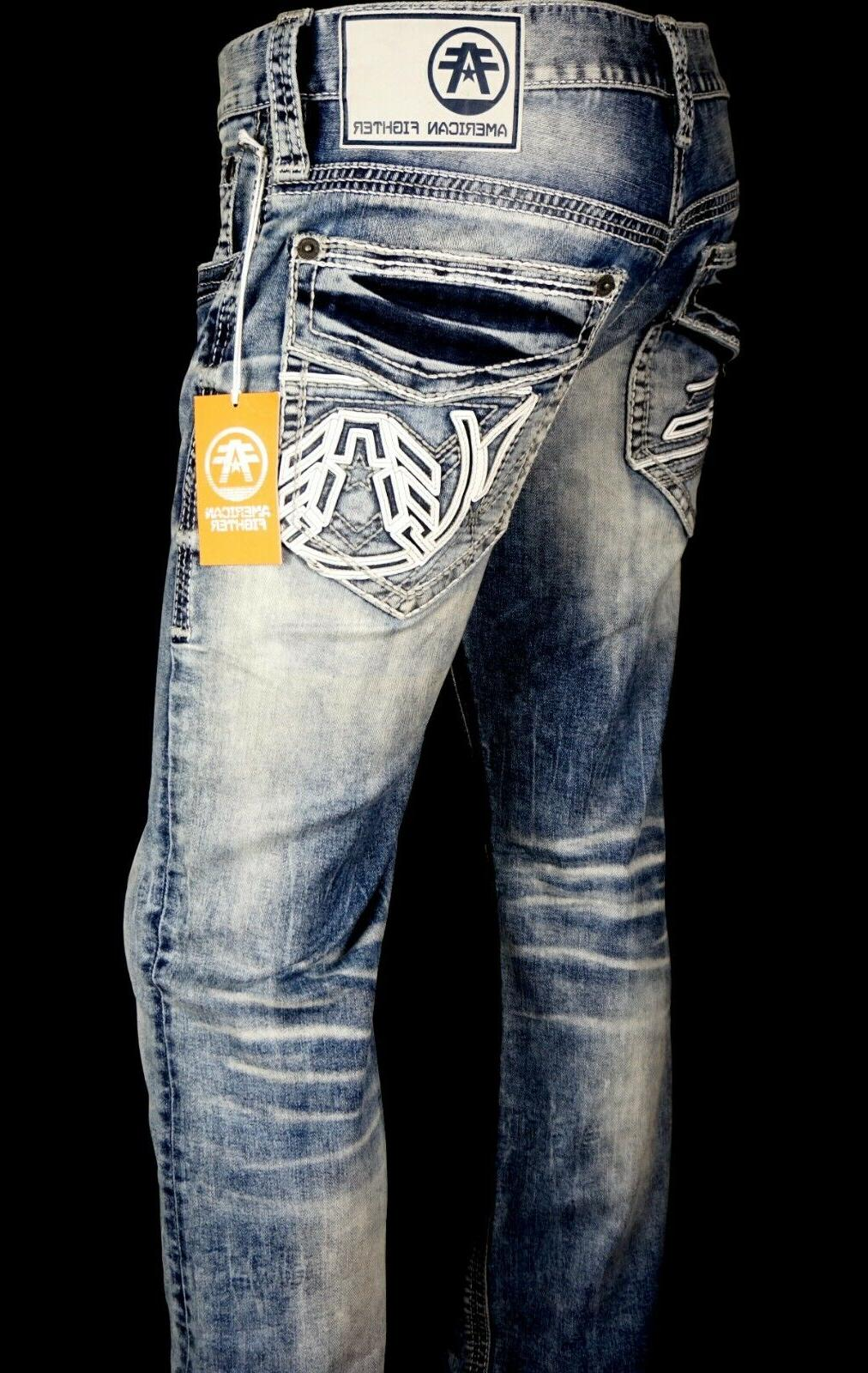 "$118 UFC Mens Jeans ""Legend"" Leather Inserts Slim Straight 38"
