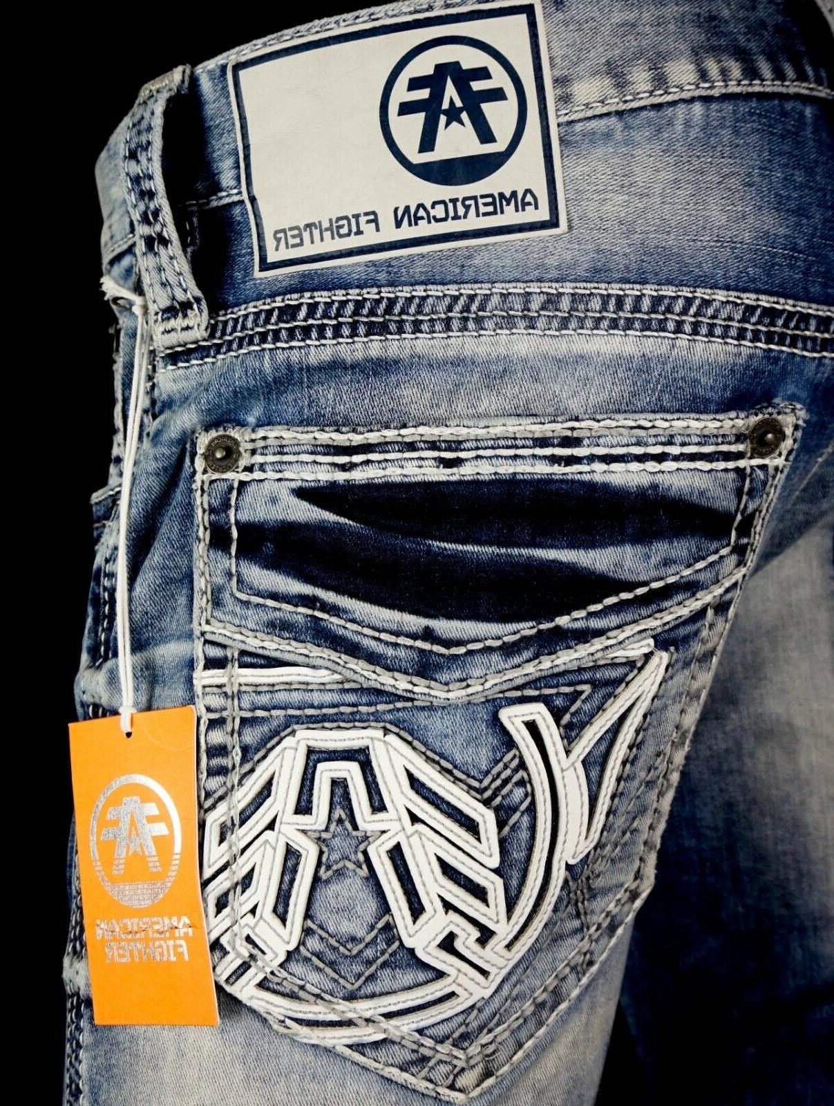 118 ufc mens jeans legend leather inserts