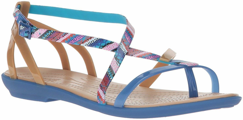 New Crocs 205146 Isabella Gladiator Graphic Sandal Blue Jean
