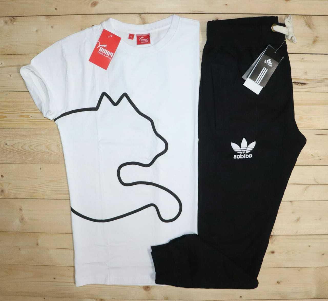 adi white champion branded combo t shirt