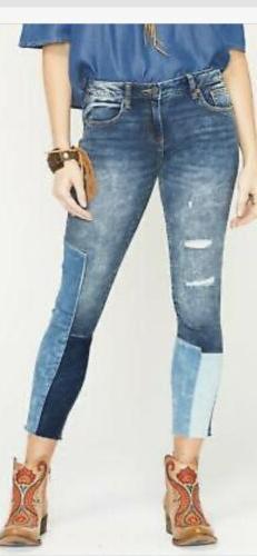 Miss Me Ankle Skinny Distructed Unfinished Med Blue Crop Jea