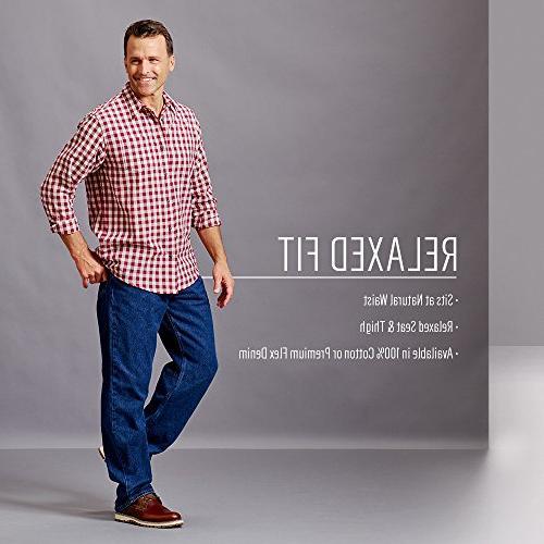 Wrangler Men's Classic Relaxed Fit Military Blue Flex, 38X29