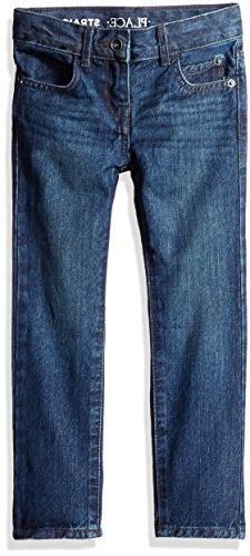 The Children's Place Big Boys' Straight Leg Jeans, Deep Blue