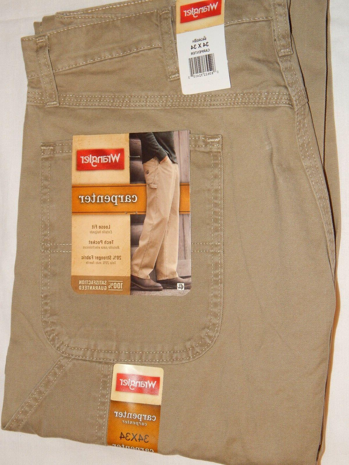 Wrangler Carpenter Jeans 34x34 British Khaki Tan 94OR0BH Loo