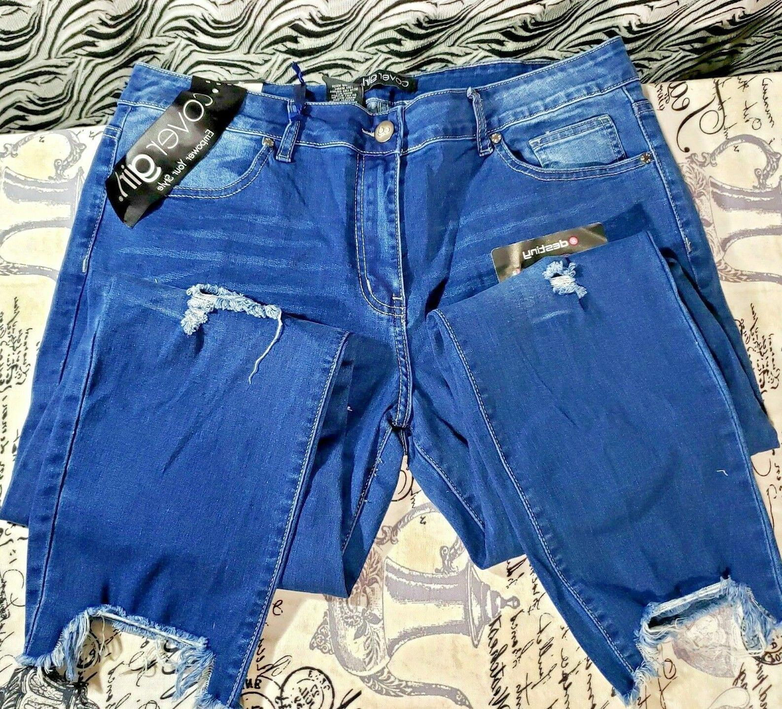 CG Jeans Patched Blue Denim Skinny Plus Wash