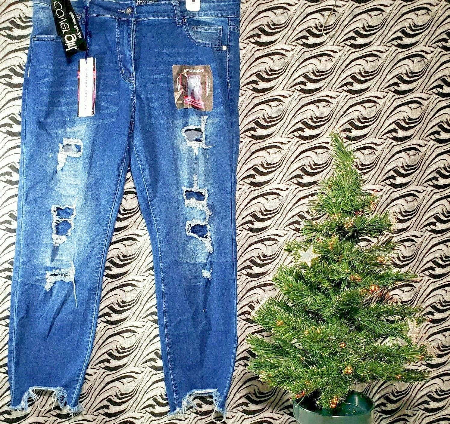 cg jeans high waisted ripped patched blue