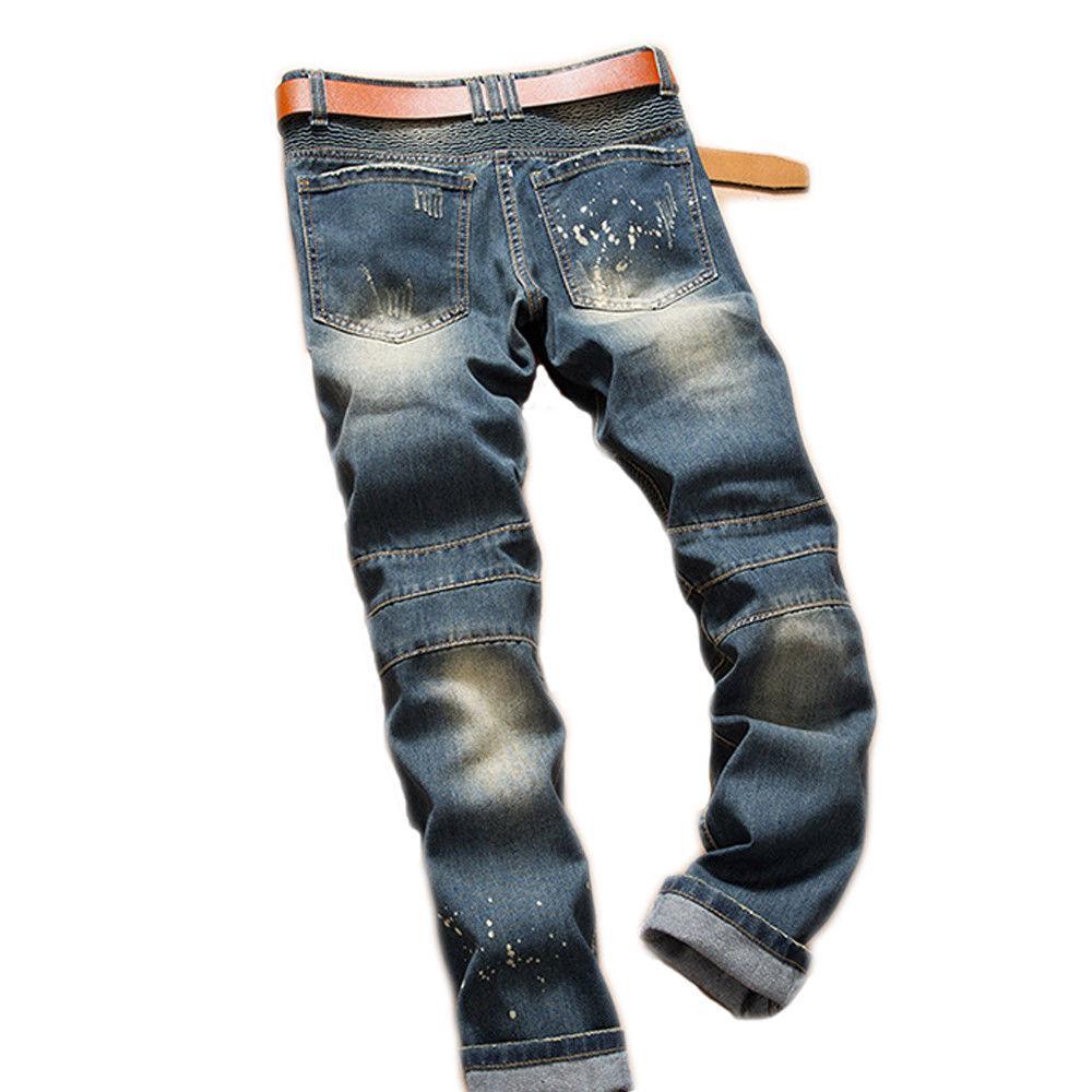 Chic Style Mens Biker Jeans Slim Pants