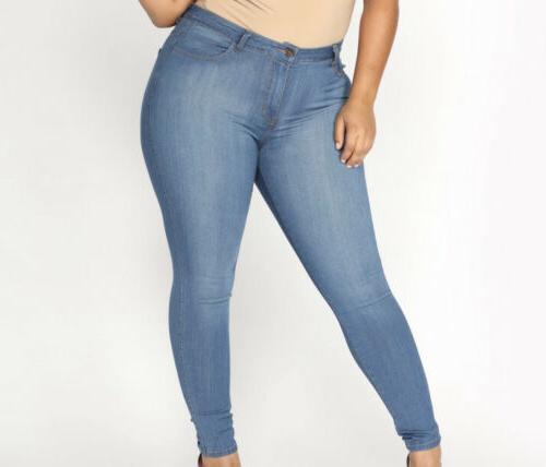 classic high waist stretchy skinny jeans blue