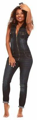 Cover Girl Denim Jumpsuit Jeans for Women Sleeveless Slim Fi