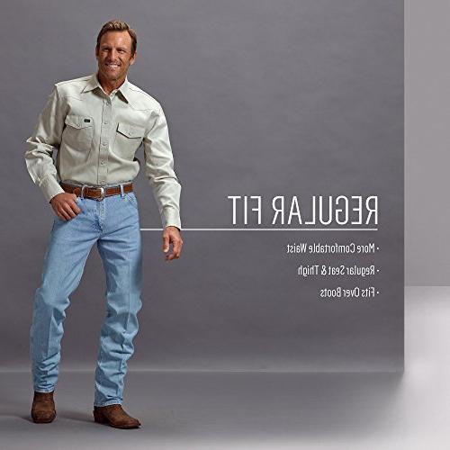 Wrangler Men's Performance Cowboy Cut Regular Jean, Stonewash, 36W x 32L