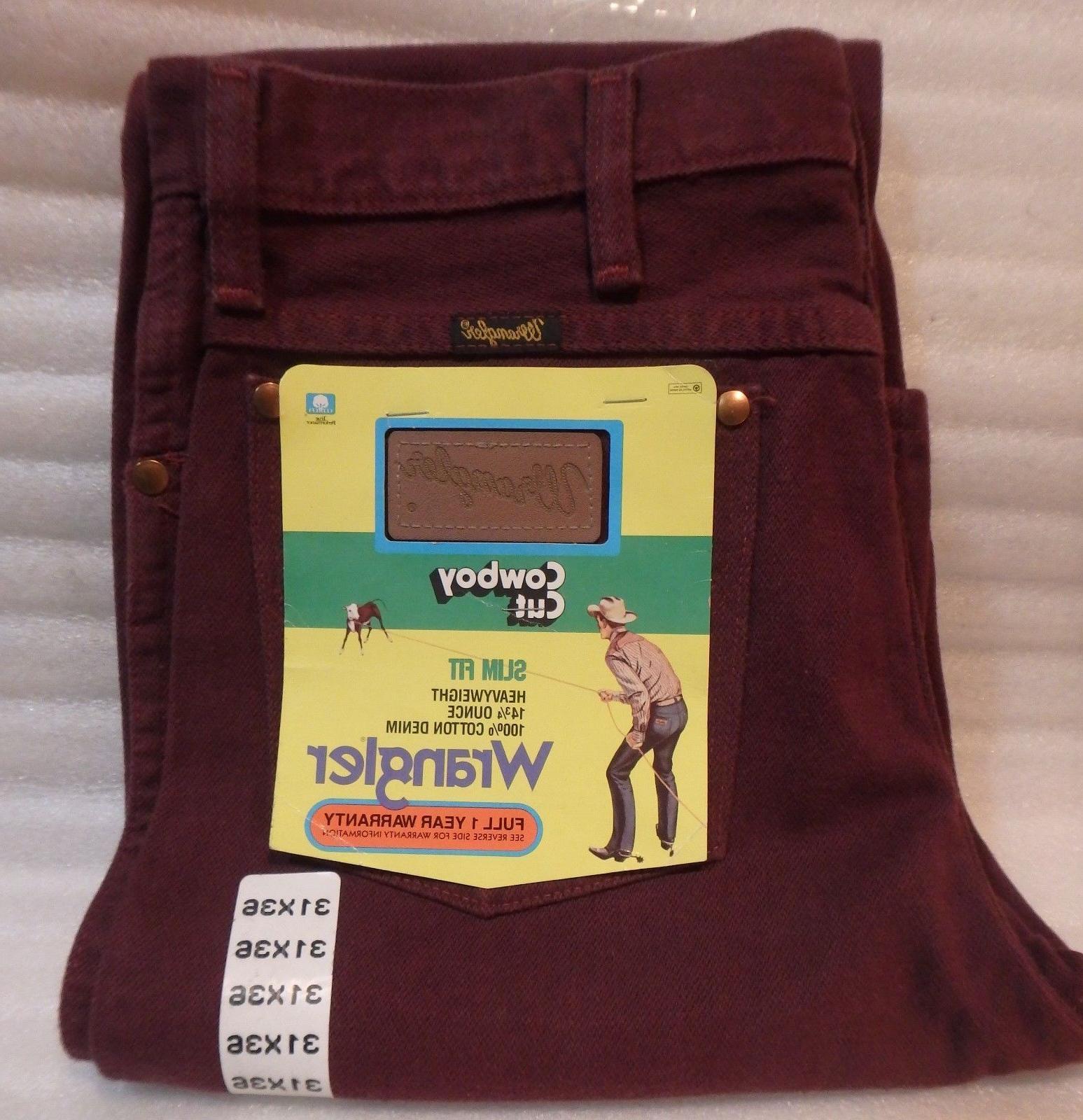 Wrangler Cowboy Cut Pre-Shrunk Slim Fit Jeans/ Wine  Color /