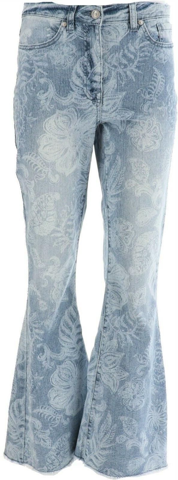 dg2 diane gilman stretch printed flare jean
