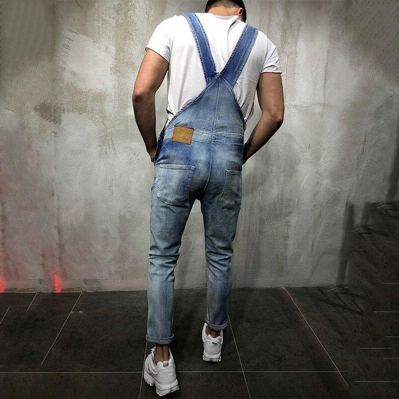 Fashion Men Overalls Suspender Fit Bib Pants