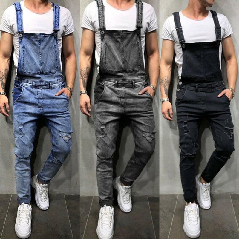 fashion men denim overalls suspender trousers slim