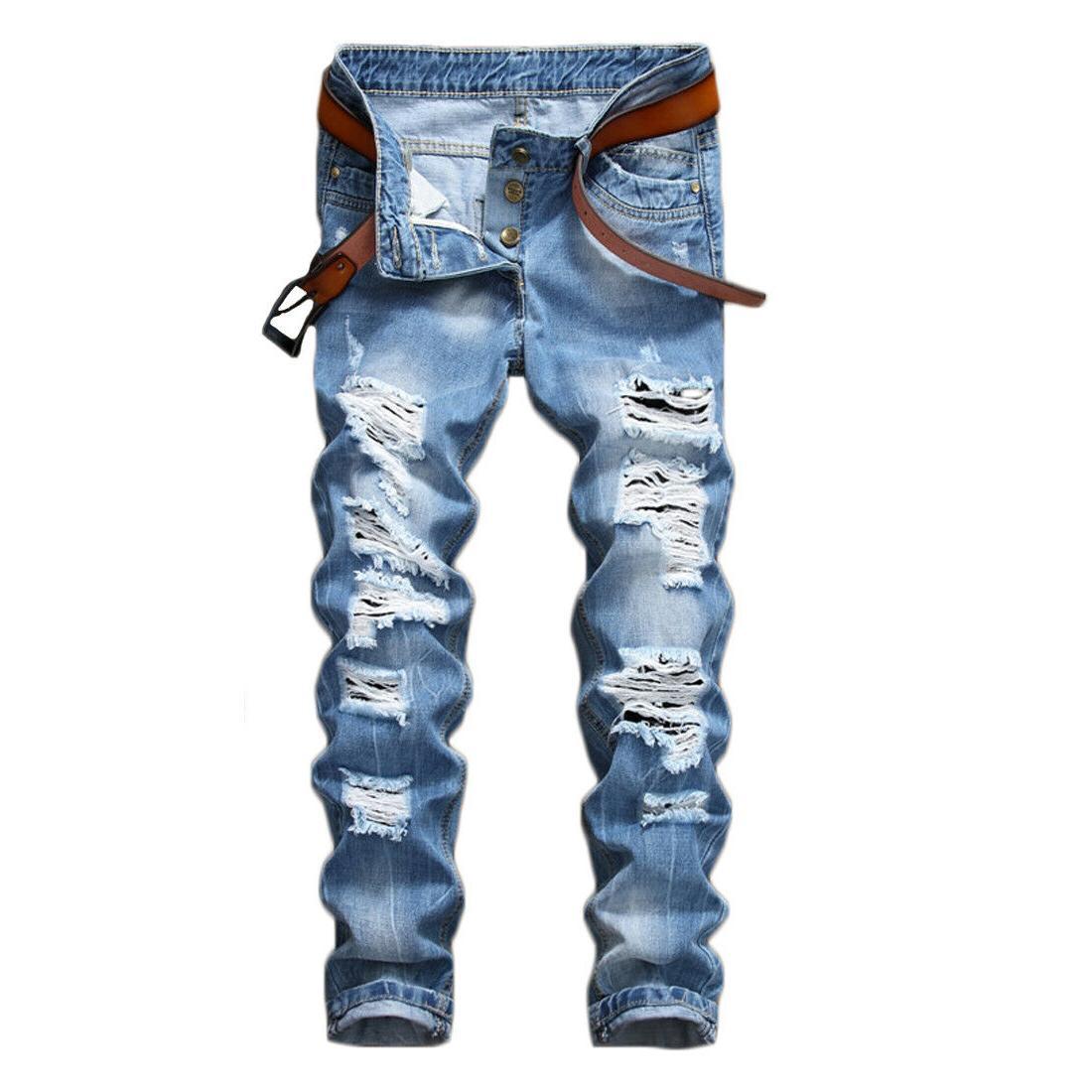 Men's Ripped Biker Skinny Jeans Slim
