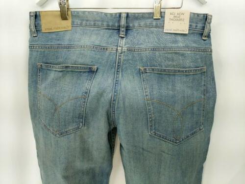 Calvin Jeans 34x34 Men's Slim Blue Denim Dirty Wash MSRP $69.50