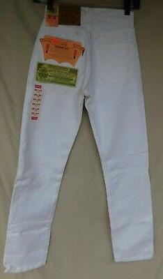 """Levi's Jeans For Women 501 White Button Fly 23""""W x 30""""L Made"""