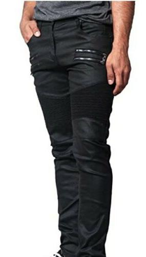 Men BIKER Jeans DL1030 **very Stretchy** Front Zipper Wax Co