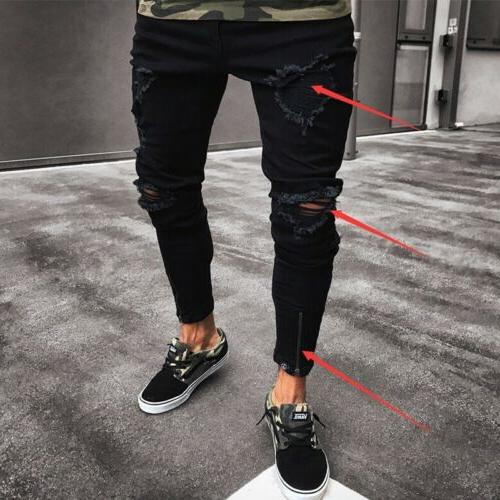 Men Black Skinny Pants Stretchy Destroyed