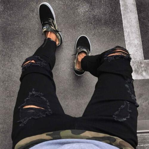 Men Pants Ripped Denim