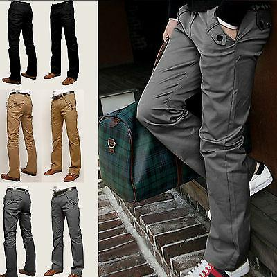 Men Casual Pencil Dress Pants Slim Fit Straight-Leg Formal J