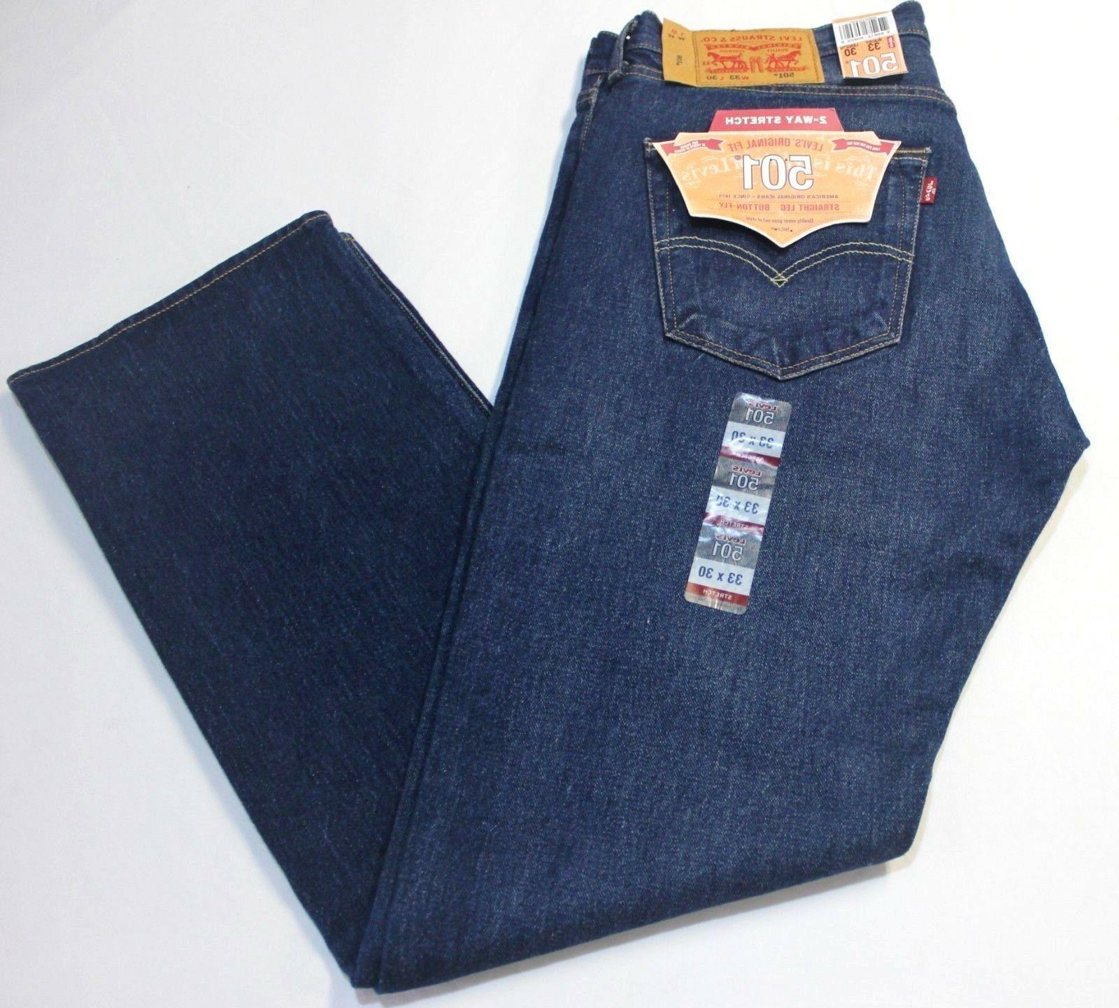 Men Levi's 501 Dark Wash Blue Straight Leg Button Fly Jeans