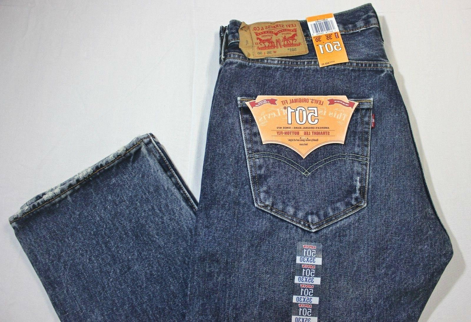 Men 501 Blue Waterless Straight Button Fly Jeans XX2483
