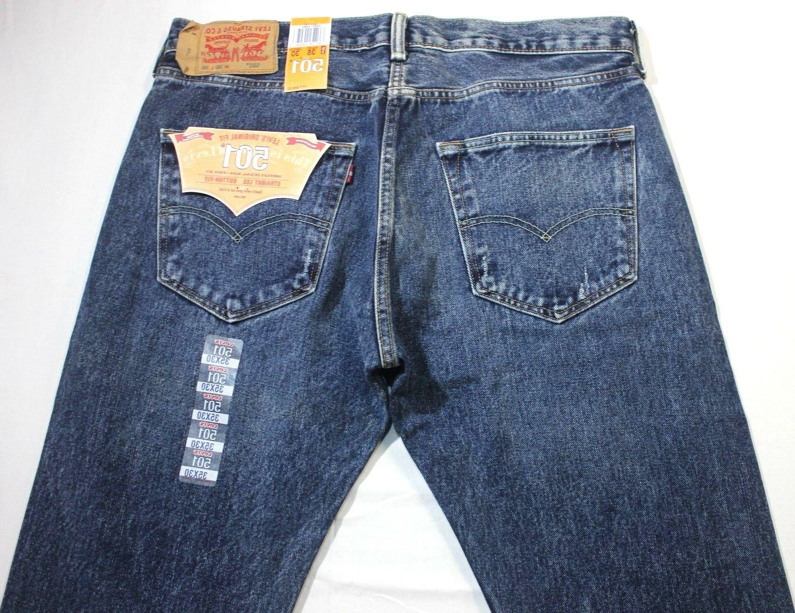 Men Blue Straight Button Fly Jeans - XX2483