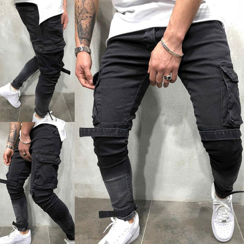 Men Skinny Jeans Frayed Trousers Casual Denim Pants