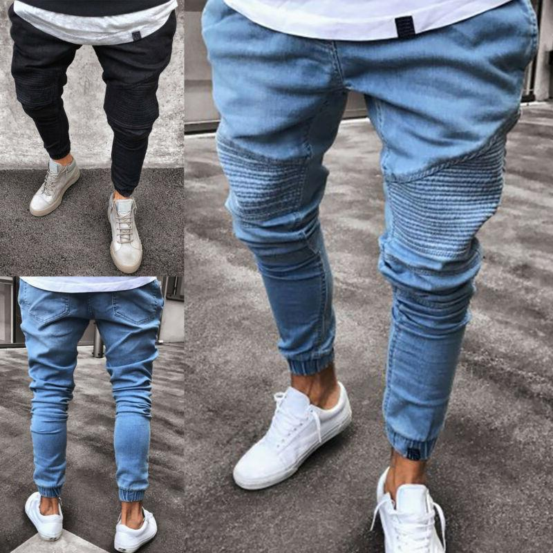Men Ripped Biker Casual Denim