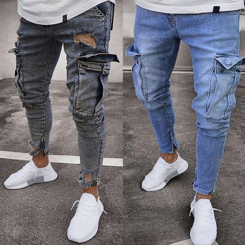 Men Ripped Jeans Frayed Casual