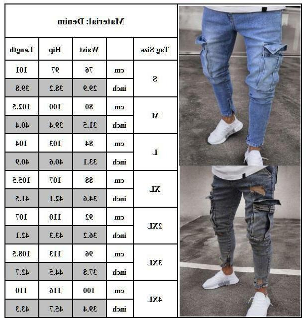 Men Skinny Jeans Frayed Casual Denim S-XL