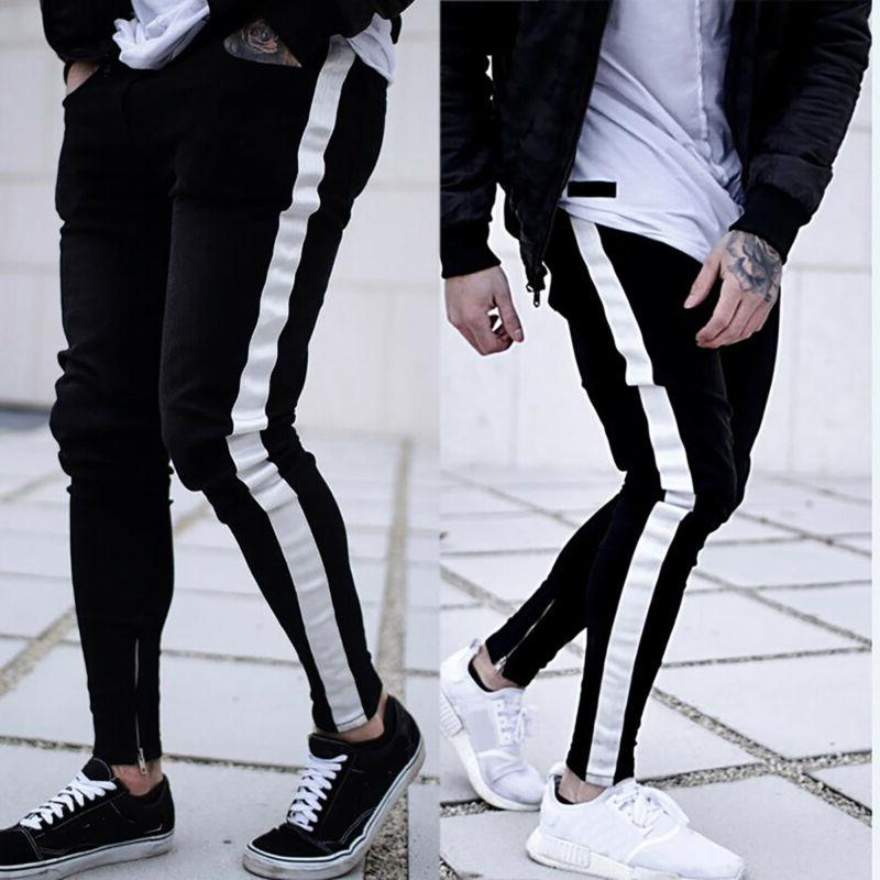 Men Ripped Jeans Casual Slim Fit Jogger Trousers