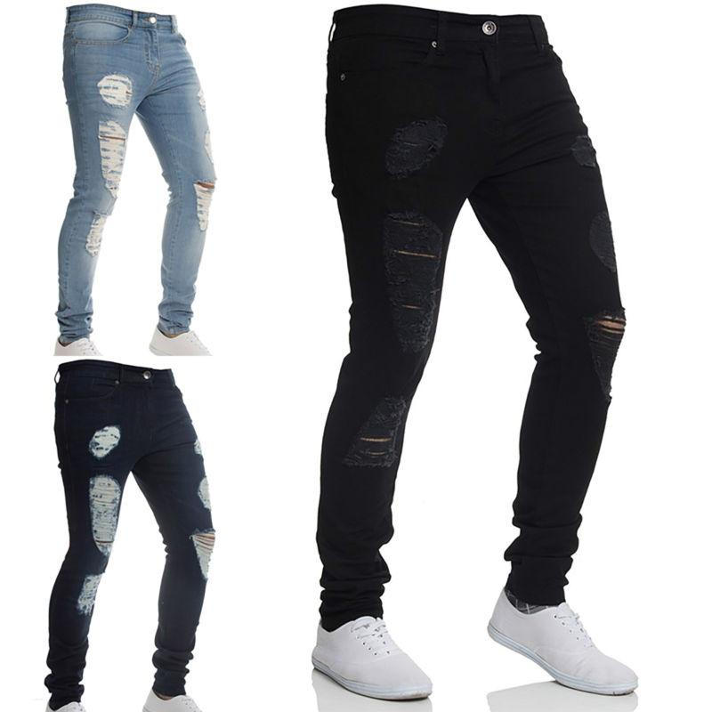 Men Ripped Skinny Jeans Distressed Frayed Fit Denim 3XL