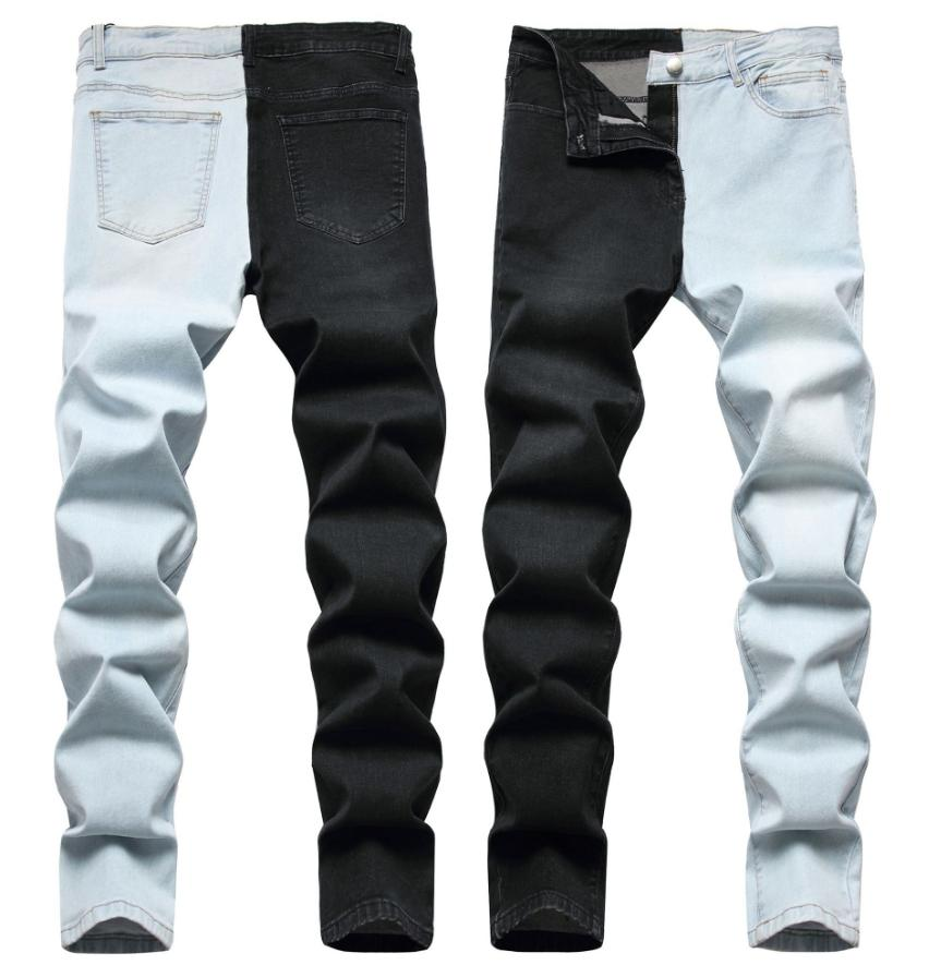 Men Ripped Jeans Frayed Slim Jogger Trousers