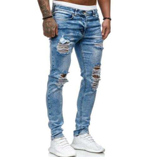 Men Ripped Frayed Pencil Denim Trousers Stretch Distressed Biker