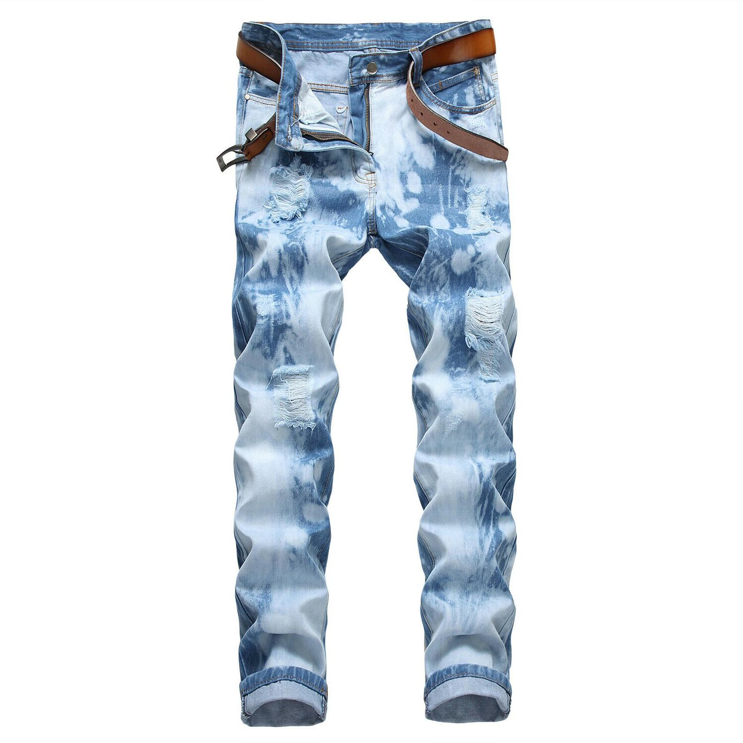 Men's Biker Jeans Frayed Slim Pants