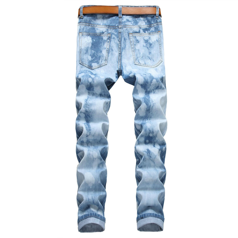 Men's Ripped Biker Skinny Jeans Men Slim Fit Denim