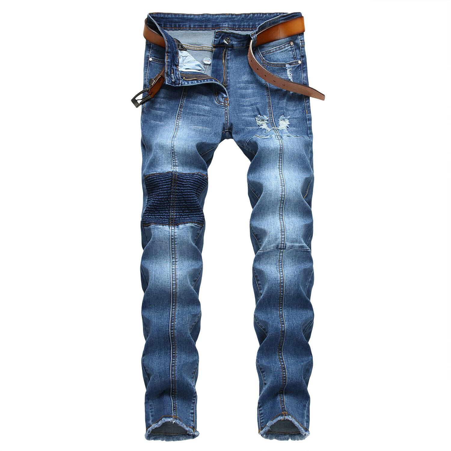 Men's Ripped Jeans Bleached Distressed Slim