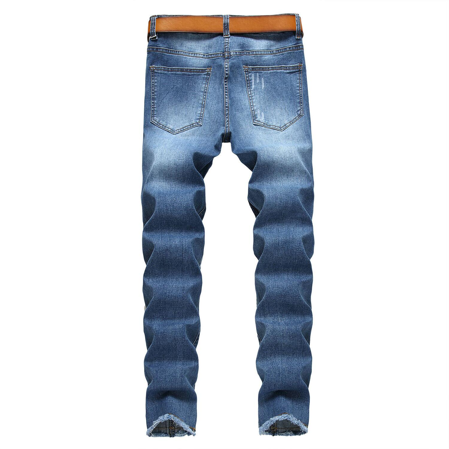 Men's Biker Skinny Jeans Distressed