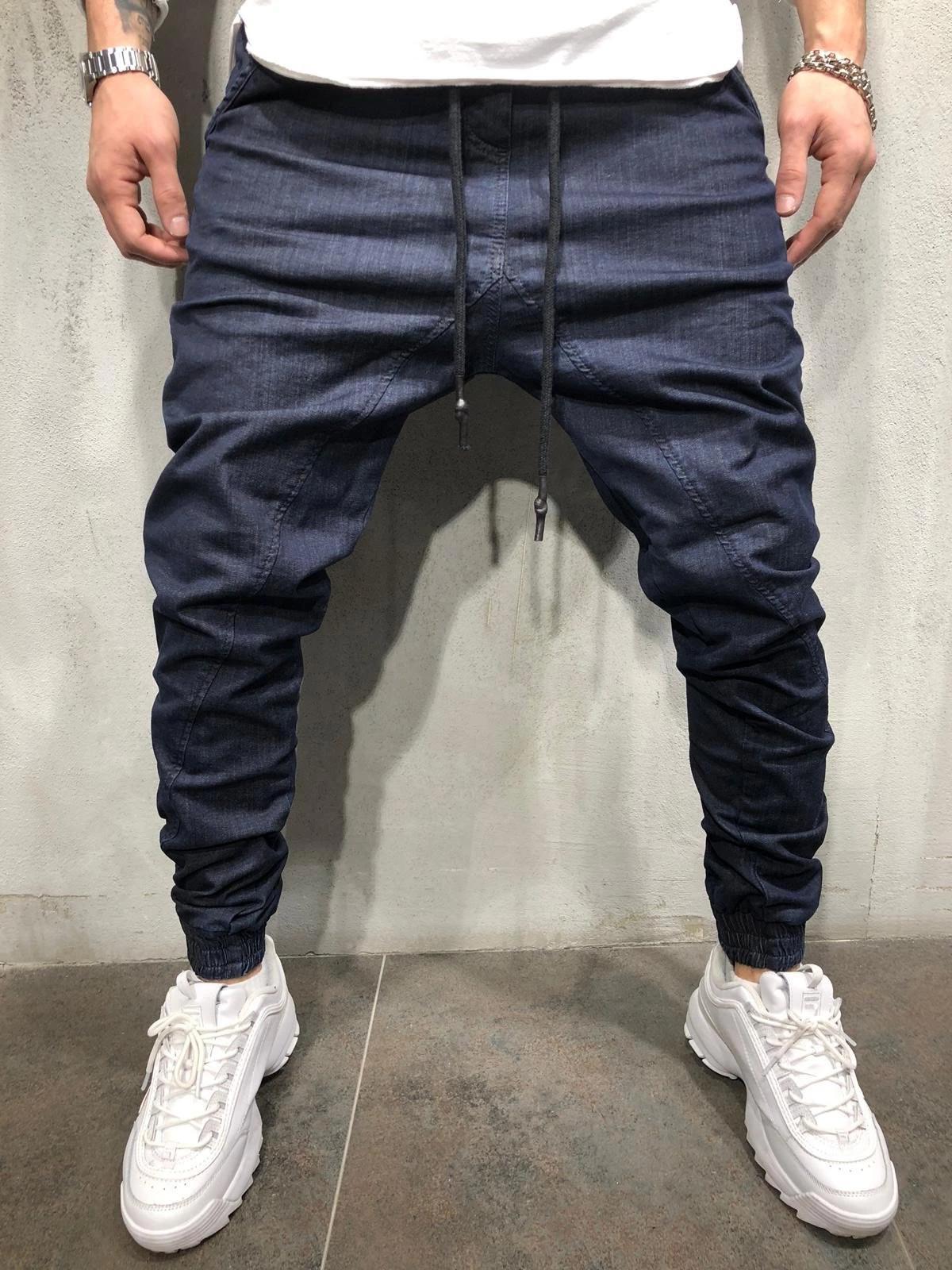Men's Casual Denim Pants Cargo Slim Stretch Jeans