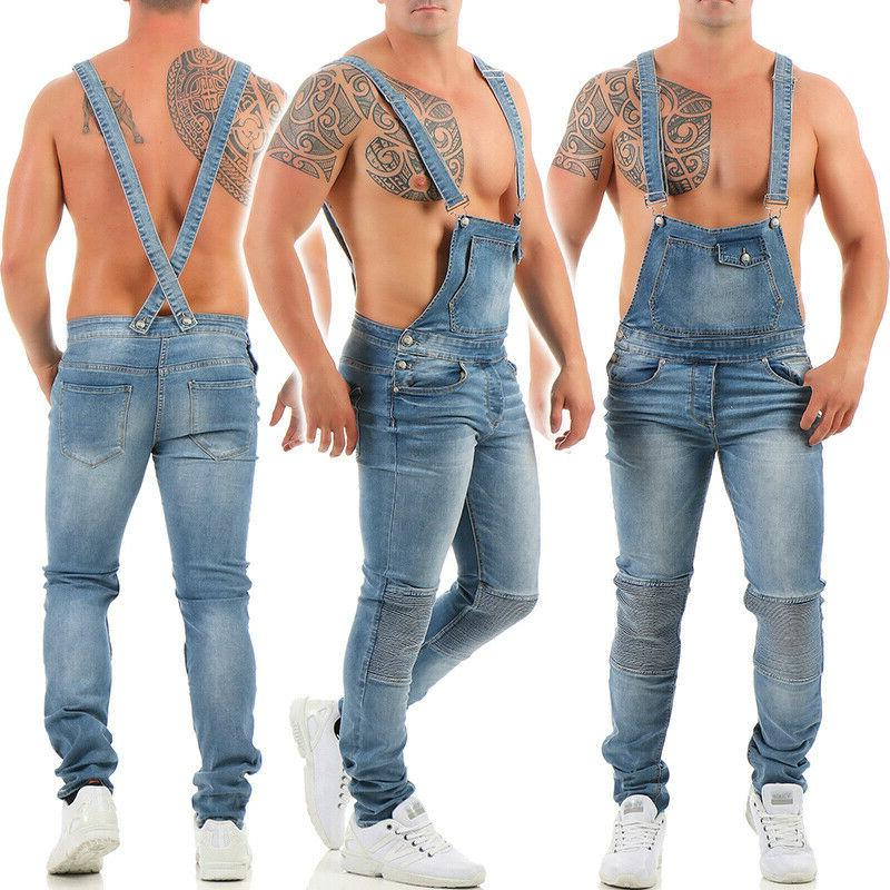 Men's Denim Overalls Dungarees Regular