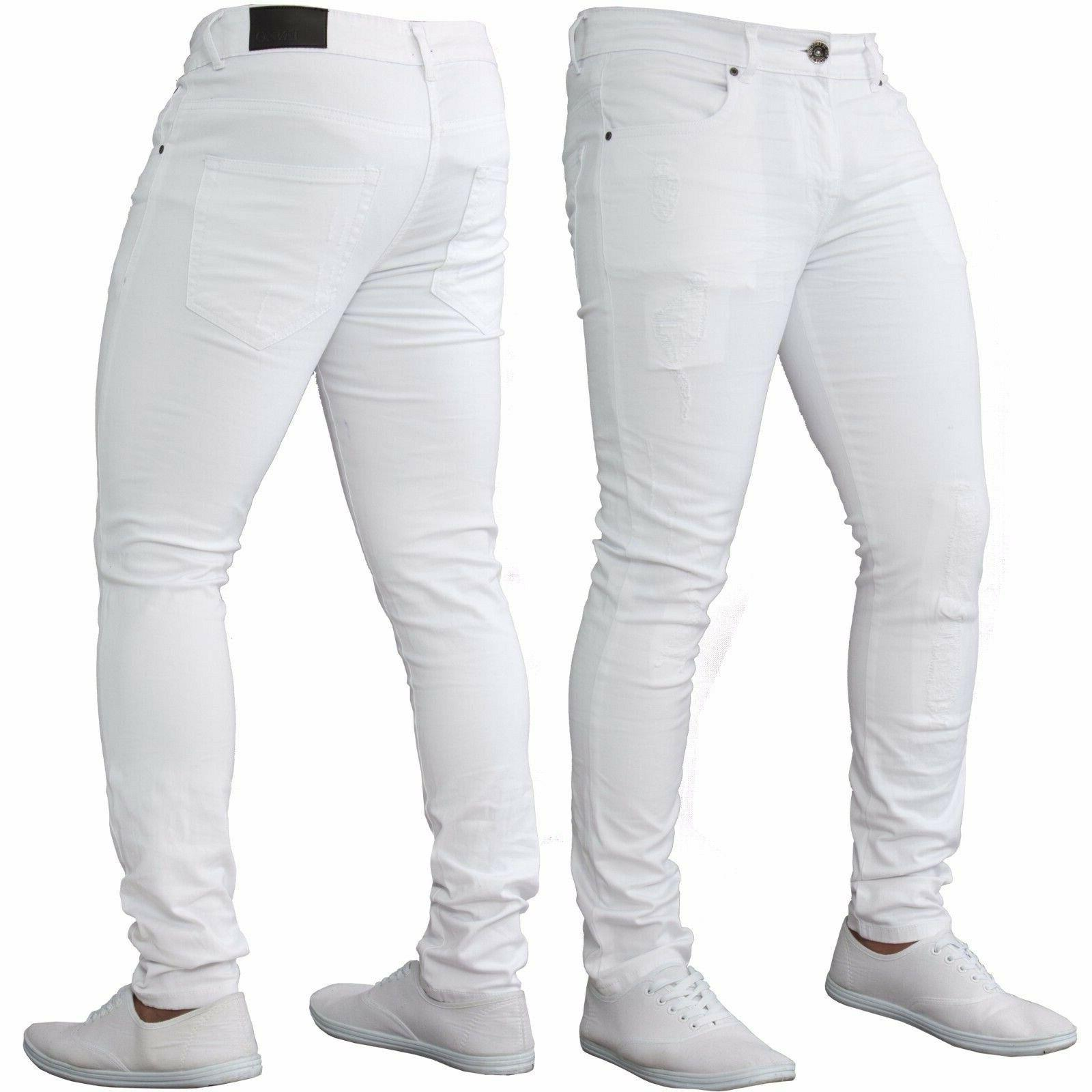 Men's Fashion Stretch Pipped Skinny Jeans Fitness