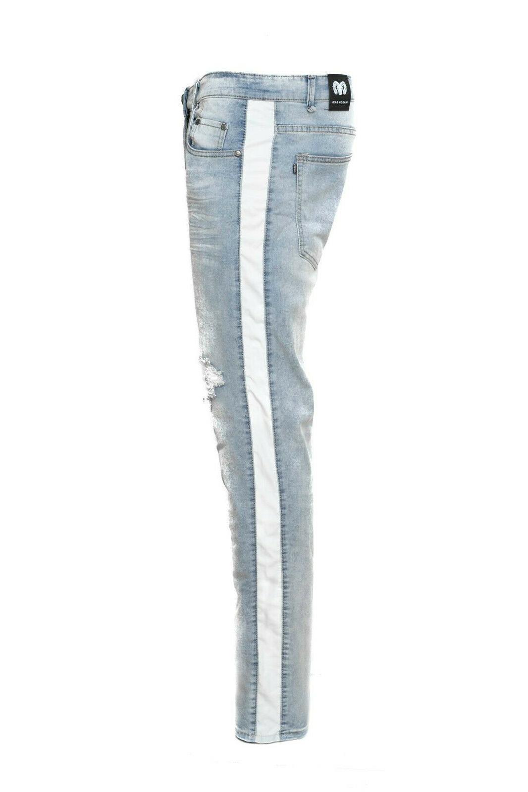 Men's Track Pants Biker Slim Fit Denim Pants Jeans